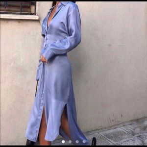 NEW Zara Satin Effect Asymmetric Hem Shirt Dress